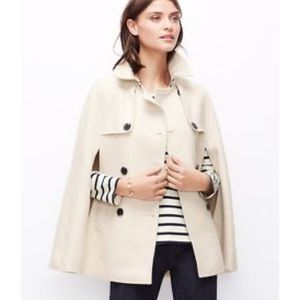 Ann Taylor double breasted cream cape poncho
